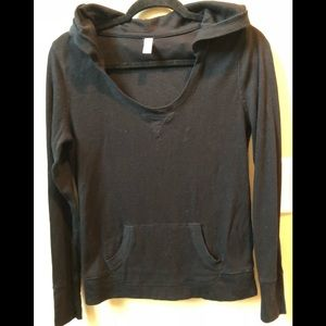 Women's small black waffle knit hoodie